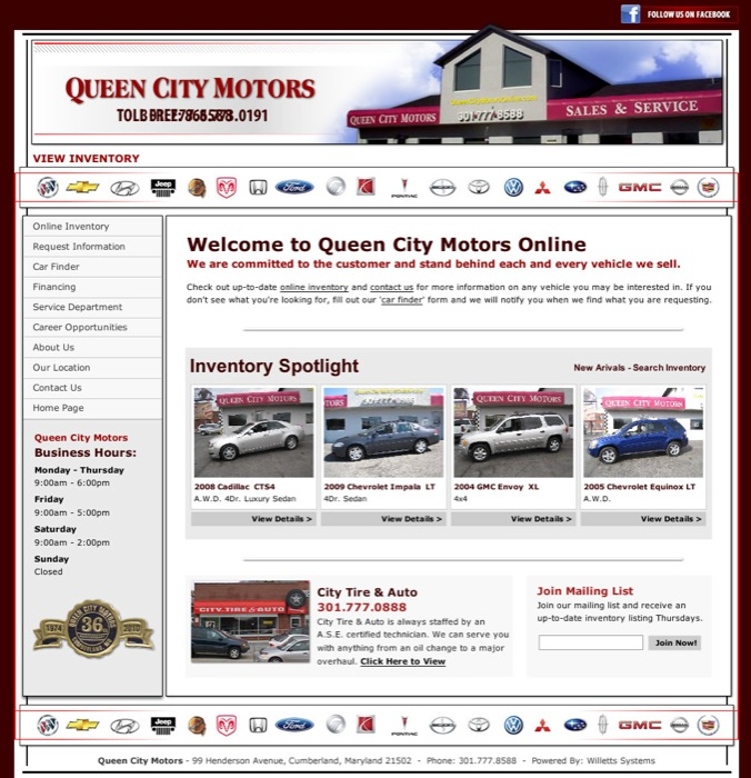 Design examples for Queen city motors cumberland